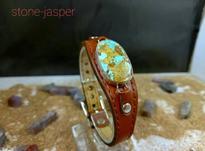 دستبند چرم مردانه نقره فیروزه نیشابور طبیعی شجر نگین در شیپور-عکس کوچک
