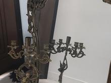 برنز اصل قدیمی و سنگین آئینه و2عدد شمعدان در شیپور