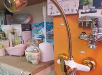 شیر ظرفشویی دیواری طلایی با علمک فنری در شیپور-عکس کوچک