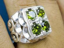 انگشتر نقره عیار925 چهارنگین زبرجد سنتتیک تراش جواهری  در شیپور