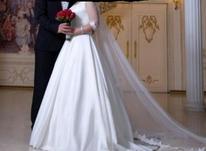 لباس عروس ساتن آمریکایی،آستین دار،مزون دوز،کریستال دوزی در شیپور-عکس کوچک