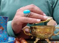 انگشتر نقره با نگین فیروزه کرمان اصیل و طبیعی در شیپور-عکس کوچک