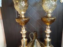 چراغ نفتی گردسوز لمپا پایه برنز حباب دستساز عسلی رنگ در شیپور