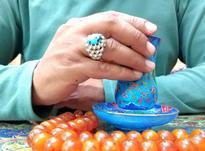 انگشتر نقره با نگین فیروزه نیشابور اصیل و طبیعی در شیپور-عکس کوچک