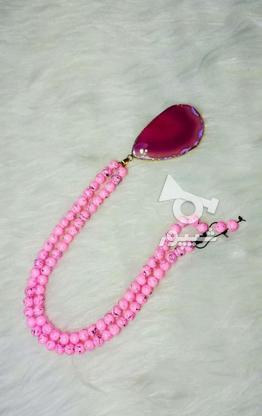 گردنبند سنگ هولیت وعقیق صورتی در گروه خرید و فروش لوازم شخصی در تهران در شیپور-عکس2