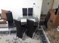 میز نهار خوری شش نفره  شیشه ای روکش صندلی چرم بدنه استیل در شیپور-عکس کوچک
