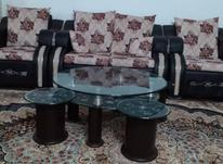 مبل چرم (تخفیف دارد)کاملا سالم همراه میز وسط وعسلی در شیپور-عکس کوچک