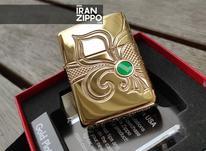 فندک زیپو روکش طلا با حکاکی زنبق در شیپور-عکس کوچک