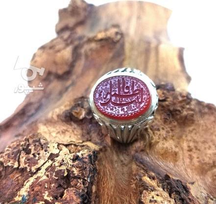 انگشتر نقره با نگین عقیق خطی اصیل و طبیعی در گروه خرید و فروش لوازم شخصی در تهران در شیپور-عکس1