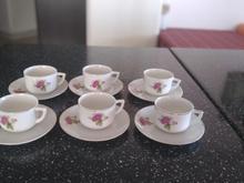 یکدست فنجان ونعلبکی گل سرخ اصل ژاپن قهوه خوری در شیپور