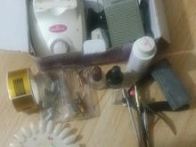 دستگاه کاشت ناخن با لوازم اولیه کار و دستگاه یو وی در شیپور