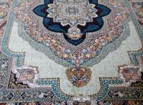 فرش دربار کاشان، ماشینی باغ معلق 6متری، آبی، فیلی، سورمه ایی در شیپور-عکس کوچک