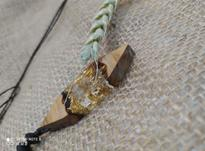 گردنبند اسپورت چوب و رزین با تلفیق ورق طلا در شیپور-عکس کوچک