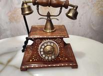تلفن قدیمی چوبی برنز کاری شده در شیپور-عکس کوچک