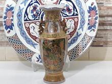 گلدان 30سانت بسیار قدیمی نقاشی برجسته 2نقش متفاوت در 4طرف در شیپور