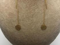 گوشواره بخیه طلا طرخ گل رز در شیپور