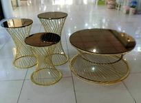 میز وعسلی برنز ابکاری رویه شیشه طلایی ومیره ای در شیپور-عکس کوچک