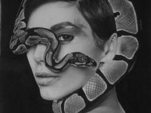 طراحی سیاه قلم چهره دختر و مار در شیپور